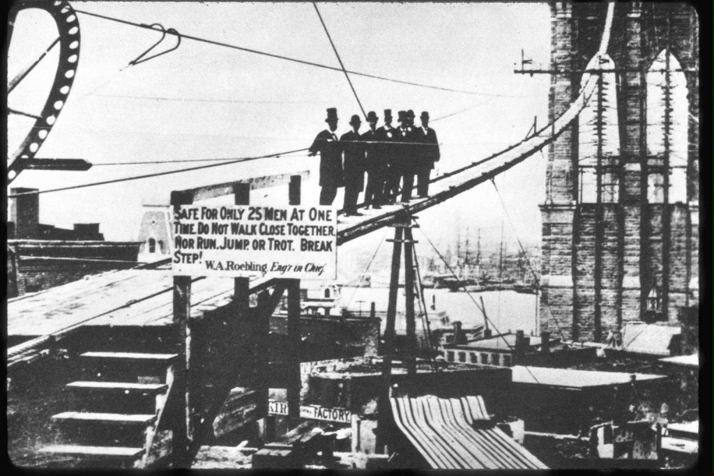 The Brooklyn Bridge under construction